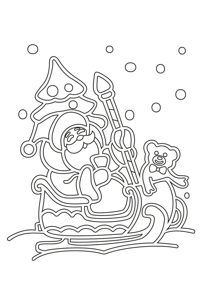Картинки дед мороз на санях распечатать, днем рождения
