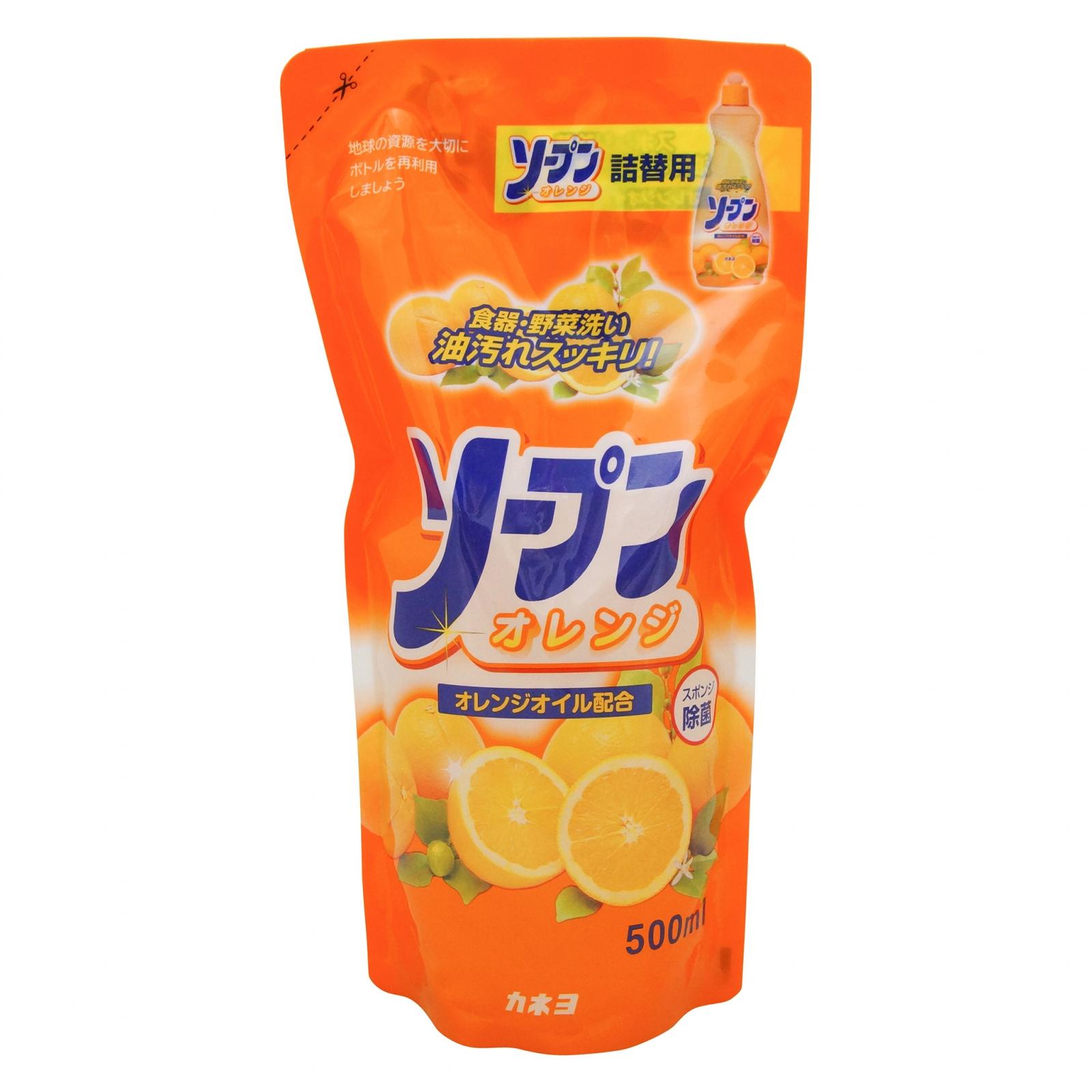 Жидкость для мытья посуды «Kaneyo - Сладкий апельсин»  (мягая упаковка) 500 мл / 24