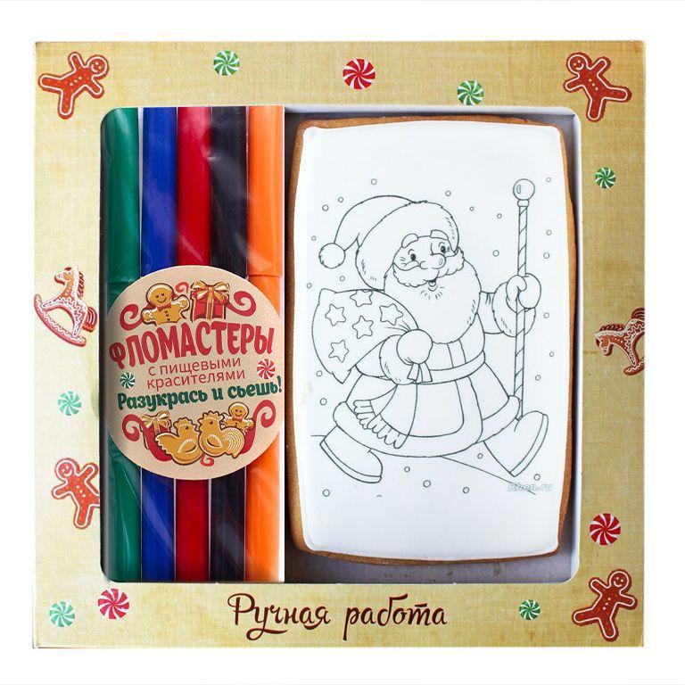 Днем рождения, набор для творчества открытка с фломастерами пряник