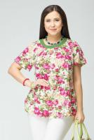 Блузка 4-042Ф Цветы/зеленый