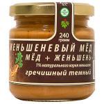 -Женьшеневый мед гречишный темный