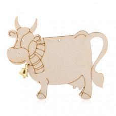 -Корова с шарфиком. Деревянная подвеска с колокольчиком для раскрашивания
