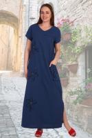 7705982324631b Описание: Легкое льняное платье из качественной турецкой ткани, украшено  вышивкой с аплликацией и карманом на шнуровке