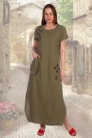 26263a18ce294b Описание: Легкое льняное платье из качественной турецкой ткани, украшено  вышивкой с аппликацией и карманом.