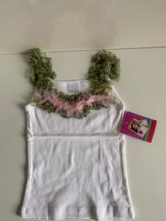белый с розовой/зеленой рюшей
