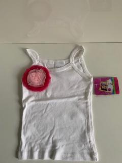 белый с малиновым/розовым цветком