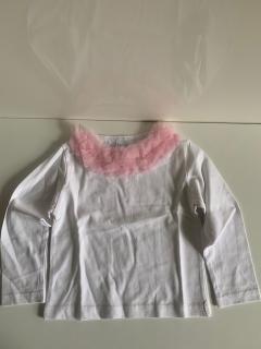белый с длинным рукавом и розовой рюшей