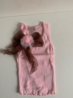 розовый с коричневым бантом/розовым цветком на клипсе