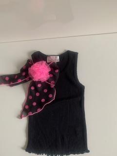 черный с черным бантом в горох/ярко-розовым цветком