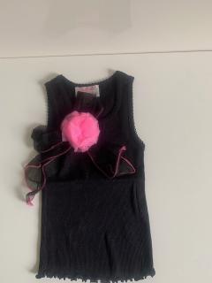 черный с черным бантом/ярко-розовым цветком на клипсе