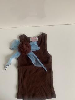 коричневый с голубым бантом/коричневой розеткой на клипсе