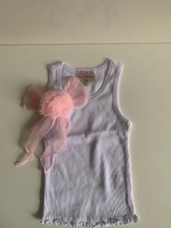 белый с розовым бантом/розовым цветком на клипсе