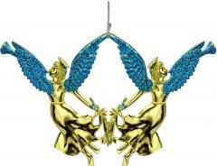 золотая с голубыми крыльями