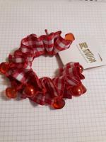 Резинка для волос клетка красная / бирюза
