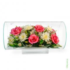 розы, хризантемы, стекло