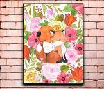 -Постер с изображением лис и лисят