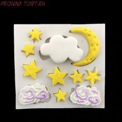 -Молд силиконовый для торта Облака и Звёзды