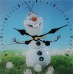 Часы Летний снеговик Размер: 30*30 см. Количество кристаллов: 182