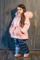 куртка:нежно-розовый полукомбинезон:серо-синий