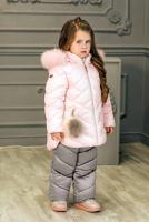 куртка:нежно-розовый полукомбинезон:светло-серый